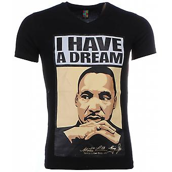 T-shirt-Martin Luther King I Have A Dream Print-Black