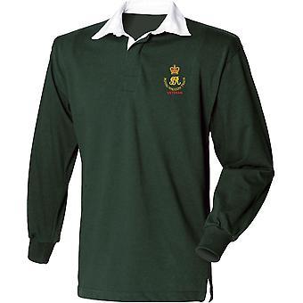 Royal Waggon Zug Veteran - lizenzierte britische Armee bestickt Langarm Rugby Shirt