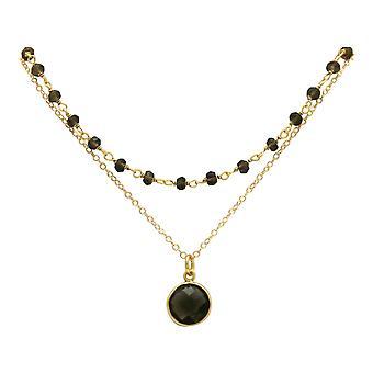 Gemshine Choker Halskette mit Rauchquarz Edelsteinen 925 Silber oder vergoldet
