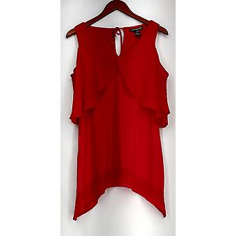 Kate et Mallory Mixed Media Cold Shoulder Tie Cape Back Top Red New A434283