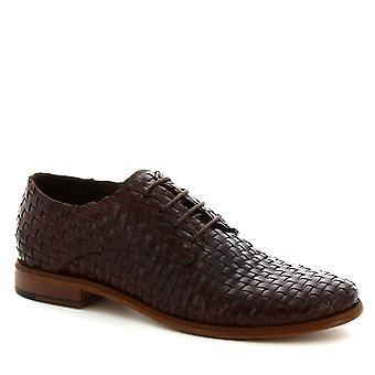 Leonardo Schuhe Frauen's handgemachte Schnürsenkel Schuhe dunkelbraun gewebt Kalbsleder