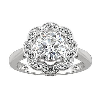 14K White Gold Moissanite by Charles & Colvard 6.5mm Round Floral Halo Statement Ring, 1.29cttw DEW