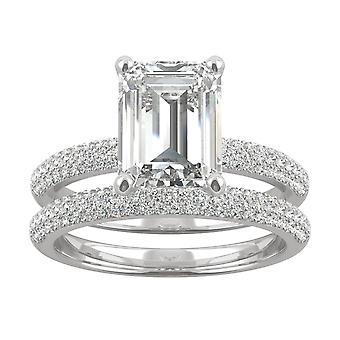 14K White Gold Moissanite by Charles & Colvard 9x7mm Emerald Bridal Set, 3.26cttw DEW