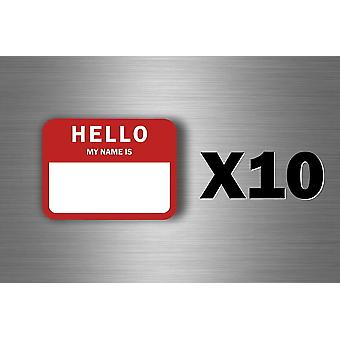 10X Autocollant Sticker Vintage USA Hello My Name Is Identification Fete Mariage