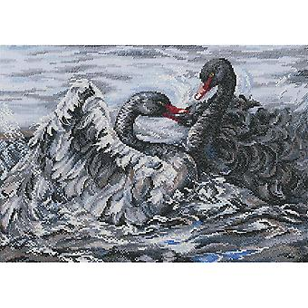 Two Black Swans Counted Cross Stitch Kit-15.75
