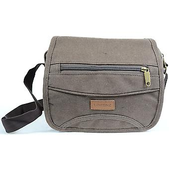 Mens / Ladies Travel / Work Canvas 'Small Messenger' Style Shoulder Bag ( Black )