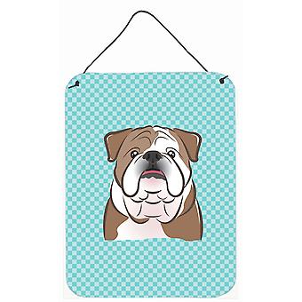 Checkerboard Blue English Bulldog  Wall or Door Hanging Prints BB1157DS1216