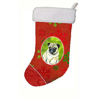 Pug Red and Green Snowflakes Holiday Christmas Christmas Stocking LH9342