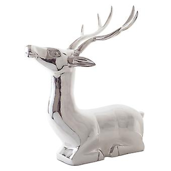 Vico' Extra Large Laying Stag Silver Aluminium Christmas Feature Ornament