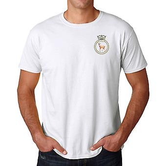 HMS Roebuck Embroidered Logo - Official Royal Navy Ringspun T Shirt