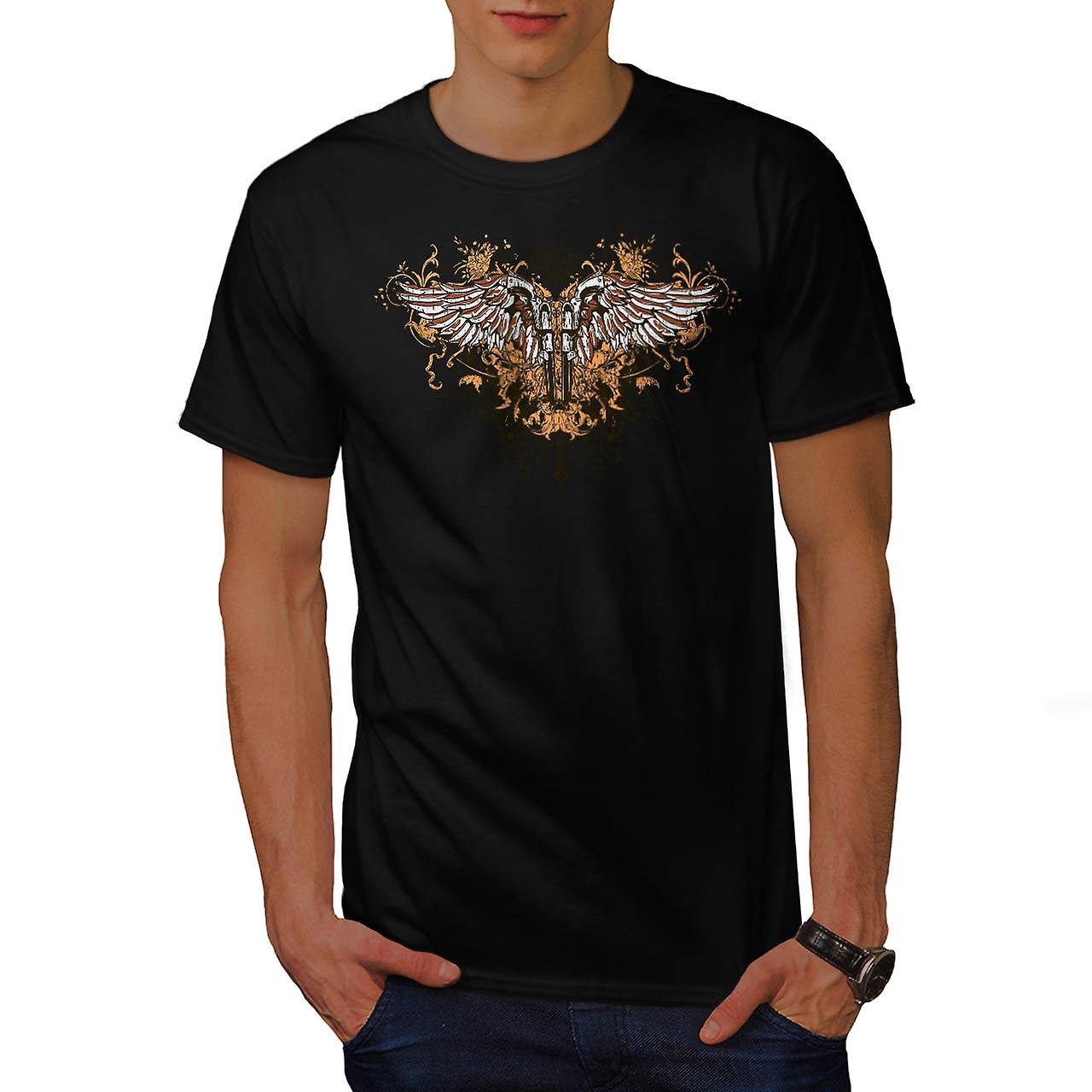 Pistol Gun Angel Wing gänget mark män svart T-shirt | Wellcoda