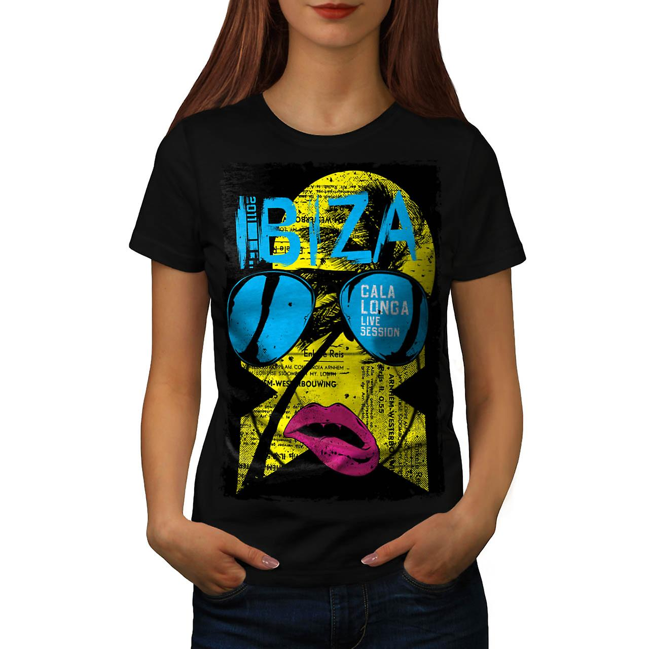 Ibiza Summer Funk Lip Live Music Women Black T-shirt | Wellcoda