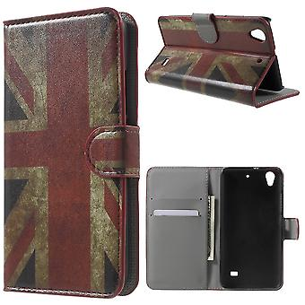 UK drapeau en cuir PU la couverture pour monter Huawey soutenu G620S et porte cartes