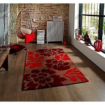 Soft Touch Hand Carved Brown & Rich Red Floral Lounge Rug 33 - Phoenix