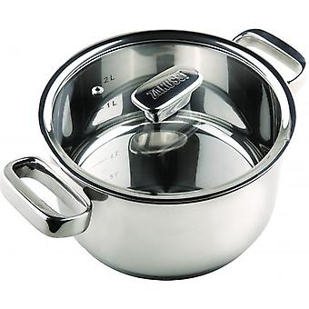 24cm STAINLESS STEEL CASSEROLE WITH GLASS LID HOME KITCHEN