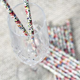 Vintage Floral Paper Straws x 25 Wedding Tea Party Alice in Wonderland