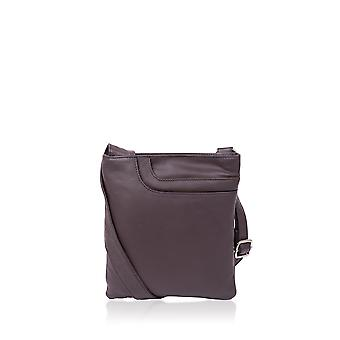 Alexis Leather Across Body Pocket Bag in Brown