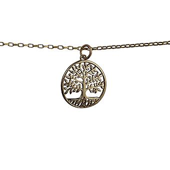 9ct Gold 20mm round 1.5mm thick Tree of Life Pendant with a belcher Chain 16 inches Only Suitable for Children