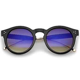 Metaal tempel Keyhole brug gekleurde spiegel Lens de P3 ronde zonnebril 50mm