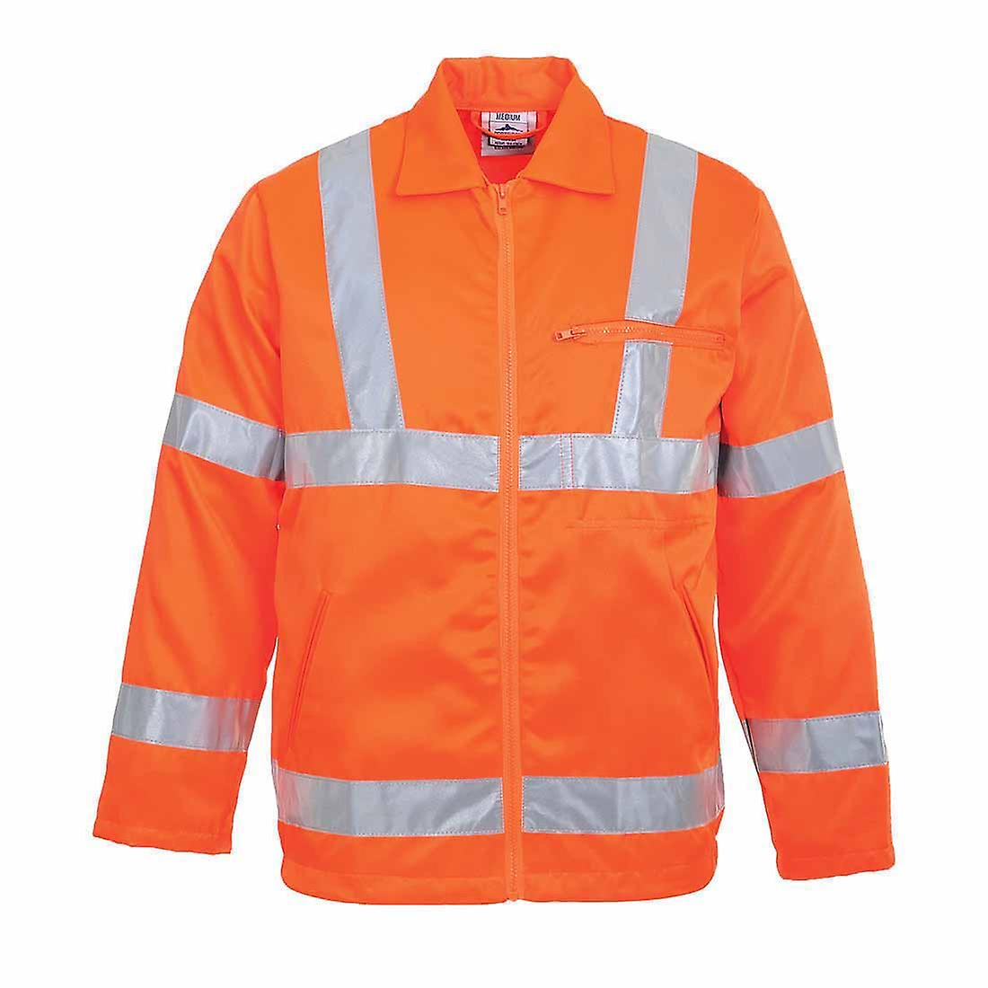 SUw - Hi-Vis Safety Workwear Poly-cotton Rail Track Side Jacket RIS
