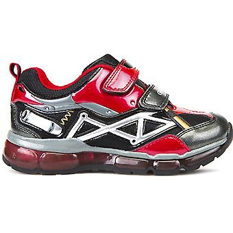 Geox Boys Android J7444B Lights Trainers Red Black