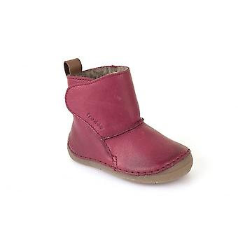 Froddo Girls Soft Pink Leather Boots With Wool Lining & Flexible Sole
