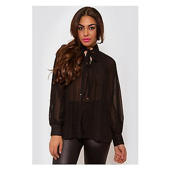 The Fashion Bible Black Pleated Chiffon Pussy Bow Blouse