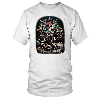 Pirate Skull Biker Motorcycle Ladies T Shirt