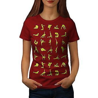Yoga hållning manuell kvinnor RedT-skjorta | Wellcoda