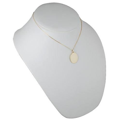 18ct Gold 27x21mm plain oval Disc with a light curb Chain 18 inches