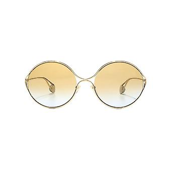 Gucci Round Metal Cut Out Sunglasses In Gold Brown Blue Gradient