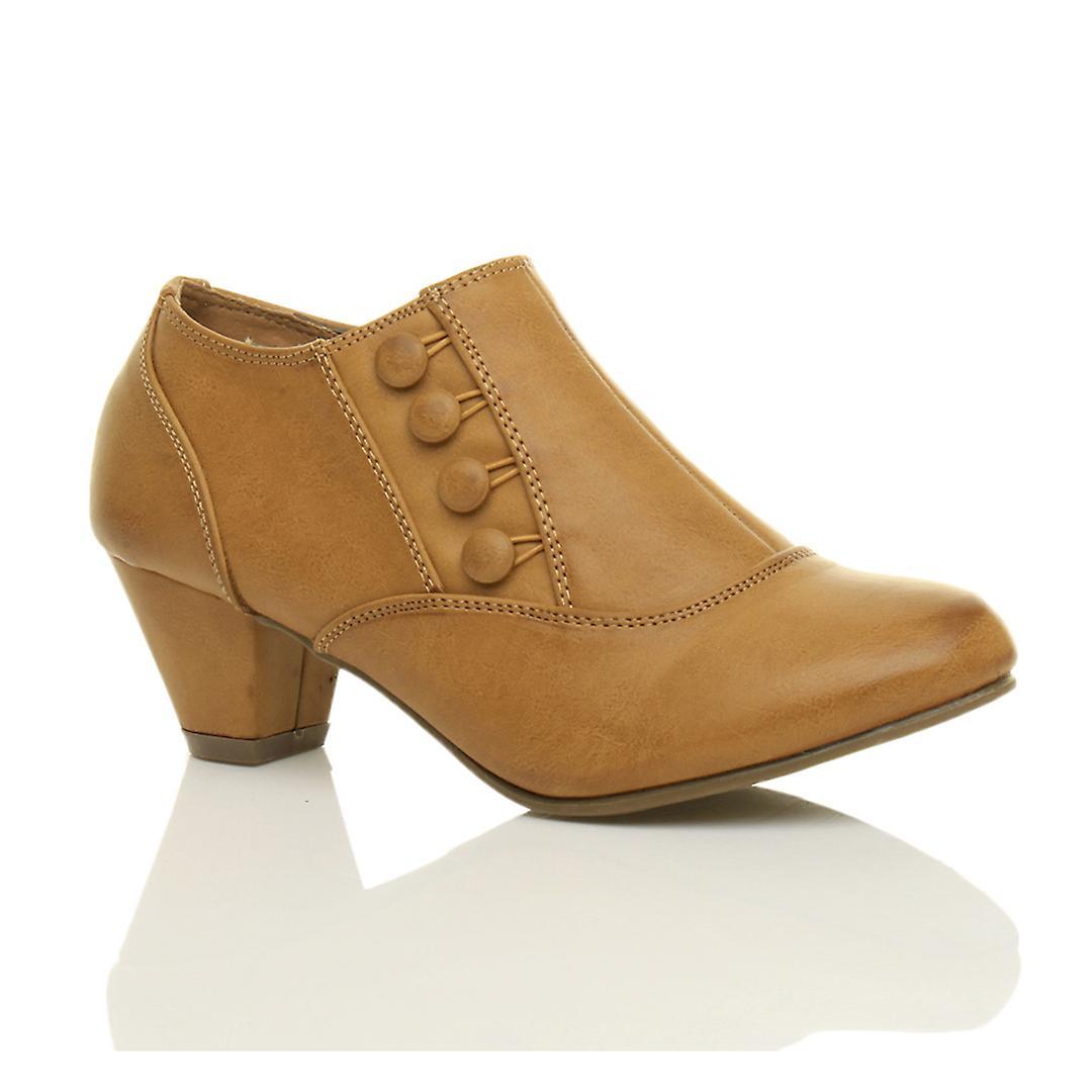 Ajvani womens low mid heel buttons zip smart work ankle shoe boots booties