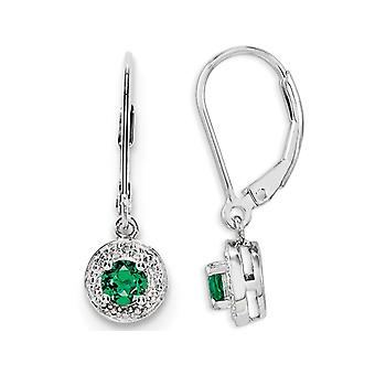 Lab Created Emerald Leverback Drop Earrings in Sterling Silver