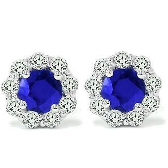 2 1 / 2ct szafir niebieski & Diamond stadniny 14K białe złoto