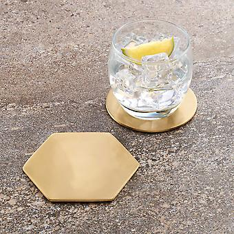 Modern Hexagonal Brass Coaster