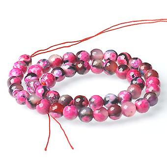Strand 40+ Fuchsia/Black Agate 8mm Faceted Round Beads CB52137