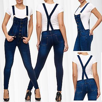 Ladies Dungarees Jeans Pants Stretch Skinny Tube Treggings High Waistband Suspenders