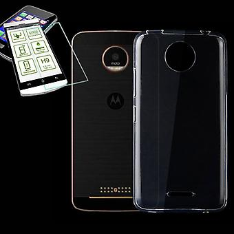Silikoncase transparent + 0.3 H9 tempered glass for Motorola Moto C plus bag case cover