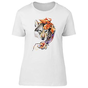 Wolf And Autumn Leaves Drawing Tee Women's -Image by Shutterstock