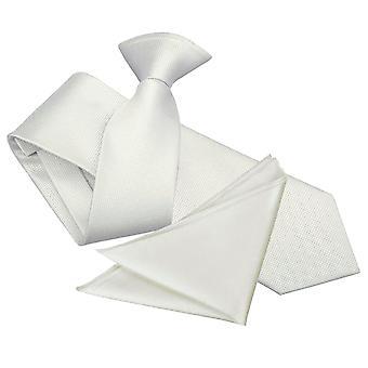 White Solid Check Clip On Slim Tie & Pocket Square Set