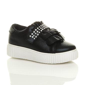 Ajvani girls flatform ruffle studded party trainers pumps shoes