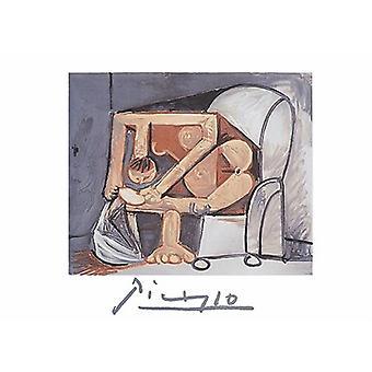 Femme, uma impressão de cartaz de La Toilette (litografia) de Pablo Picasso (30 x 22)