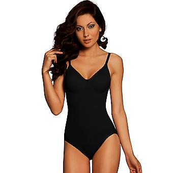 Damen Body Wrap reguläre Pin Up schwarz Bügeln Bodysuit 44001
