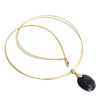 Gemshine - vrouwen - verguld - hanger - halsketting - Onyx - zwart - 45 cm