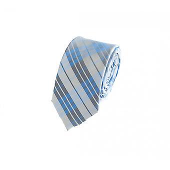 Tie cravate cravate cravate gris bleu blanc 6cm damier Fabio Farini