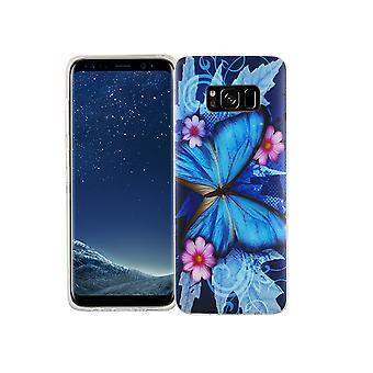 Cas de téléphone portable pour Samsung Galaxy S8 la couverture de l'affaire sac de protection motif slim silicone TPU bleu papillon