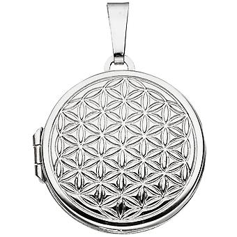 Medallion around life flower 925 sterling silver rhodium plated to open 2 photos