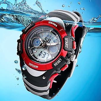 SKMEI Girls Boys Red Digital Watch 30m Water Resistant Dual Display Stopwatch Alarm Ages 5-13