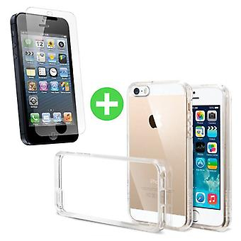 Stuff Certified® iPhone SE transparentes TPU Gehäuse + Screen Protector ausgeglichenes Glas