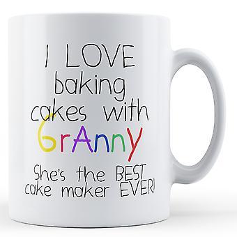 I Love Baking Cakes With Granny - Printed Mug